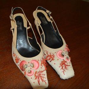 Gianni Versace brown fur Heels